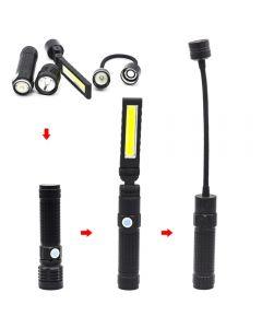 Linterna led de luz fuerte T6 con mazorca recargable de mano magnética plegable fuerte