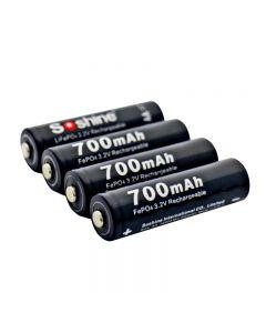 Soshine 14500 / Aa 3.2V 700Mah Batería De Lifepo4 Recargable Protegida Con Caja De Batería (4 Unidad)