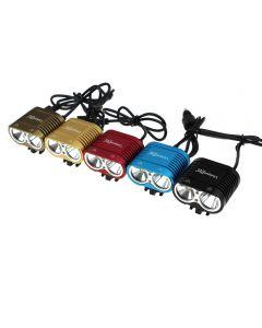 Uniquefire Hd-016 2 * Cree Xm-L2 4 Modos Max1800 Luz De Bicicletas Bicicletas Con Afierno 4 * 18650 Conjunto De Baterías
