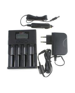 Soshine H4 Lcd Smart Universal Charger Para 26650 18650 16340 Li-Ion Liifepo4 Nimh 1.2V C Aa Aaa Batería + Cargador De Coche