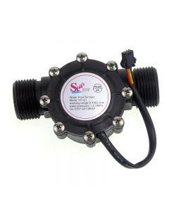 Yf-G1 Flujo De Agua De Plástico Dn25 Hall Sensor Sensor Crown / Counter - Negro