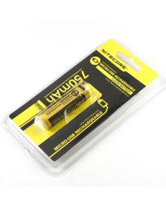 Nitecore Nl1475R 750Mah 14500 3.6V 2.7Wh Batería De Ion De Litio Recargable Micro-Usb De Alta Rendimiento