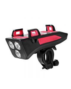4 en 1 bicicleta luz bicicleta cuerno campana soporte para teléfono móvil accesorios para bicicleta
