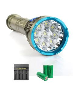 9 piezas L2 / T6 lámpara de alta potencia 8000 lúmenes linterna de buceo interruptor magnético adecuado para camping de buceo