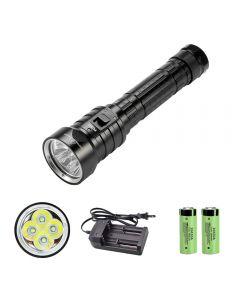 4 x XM-L L2 Linterna de buceo LED 26650 IPX8 Luz subacuática impermeable 3 modos Linterna de pesca