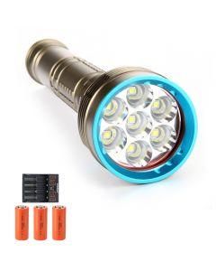 14000 lúmenes 7 * L2 / T6 Antorcha de buceo Luz de buceo 26650 Linterna de deslumbramiento de buceo recargable