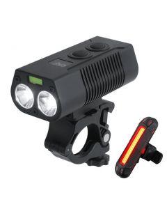 2 * T6LED USB recargable luz de bicicleta MTB luz de advertencia de seguridad de luz delantera y trasera de bicicleta