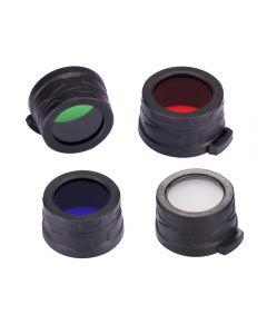 Nitecore Rgb / W (Rojo, Azul, Verde, Blanco) Filtro De 40 Mm / Difusor Ajuste Para Nitecore Ea4, Mh25, Linterna Led P25