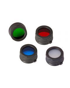 Nitecore Rgb / W (Rojo Nfr34, Azul Nfb34, Nfg34 Verde, Blanco Nfd34) Filtro De 34 Mm / Difusor Ajuste Para Nitecore Mt25, Mt26, Linterna Led Ec25 Led